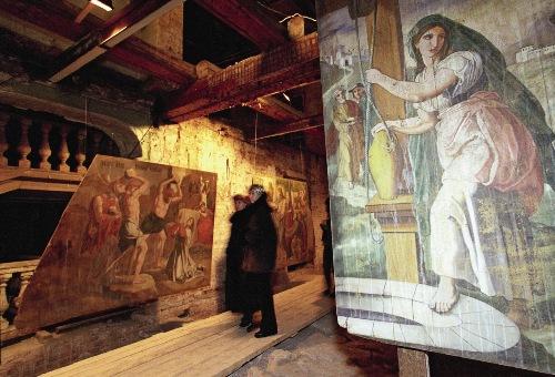 Фрагменты пото-лочных росписей («небес») из де-ревянных церквей XVIII-XIX веков Каргополья.