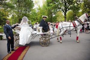 «Кузьминки» предлагают брачующимся катание в конном экипаже.