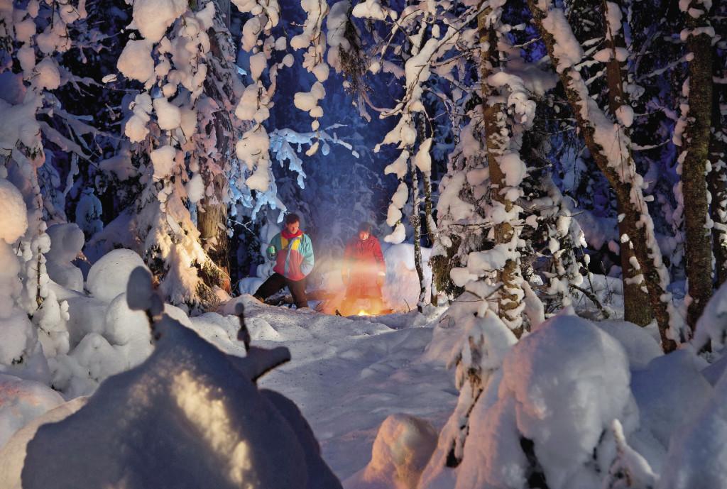 Костер в сказочном лесу грел так, что мы даже сняли головные уборы.