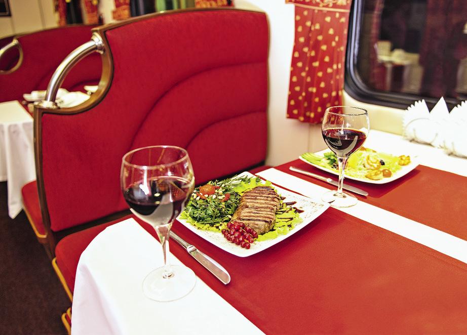 Вагон-ресторан работает с начала движения поезда и до момента прибытия на вокзал.