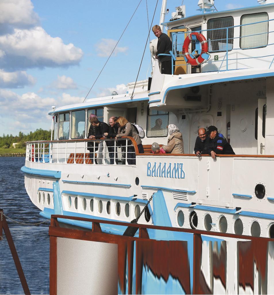 Карелия. Пассажирский теплоход на пристани острова Валаам. Республика Карелия