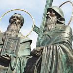 В Коломне установлен памятник основателям русского алфавита - Кириллу и Мефодию.